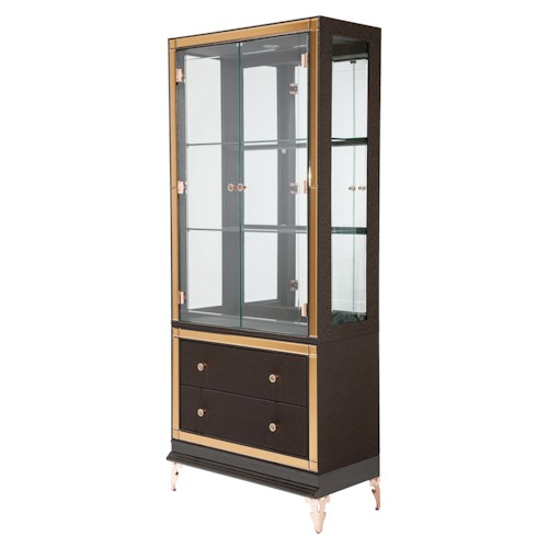 Michael Amini Hollywood Loft Curio with Mirror Accents and Drawers
