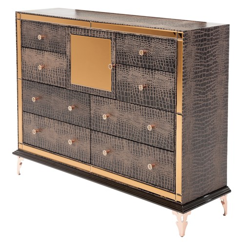 Michael Amini Hollywood Loft Upholstered Dresser with Crocodile Print and Mirror Accents