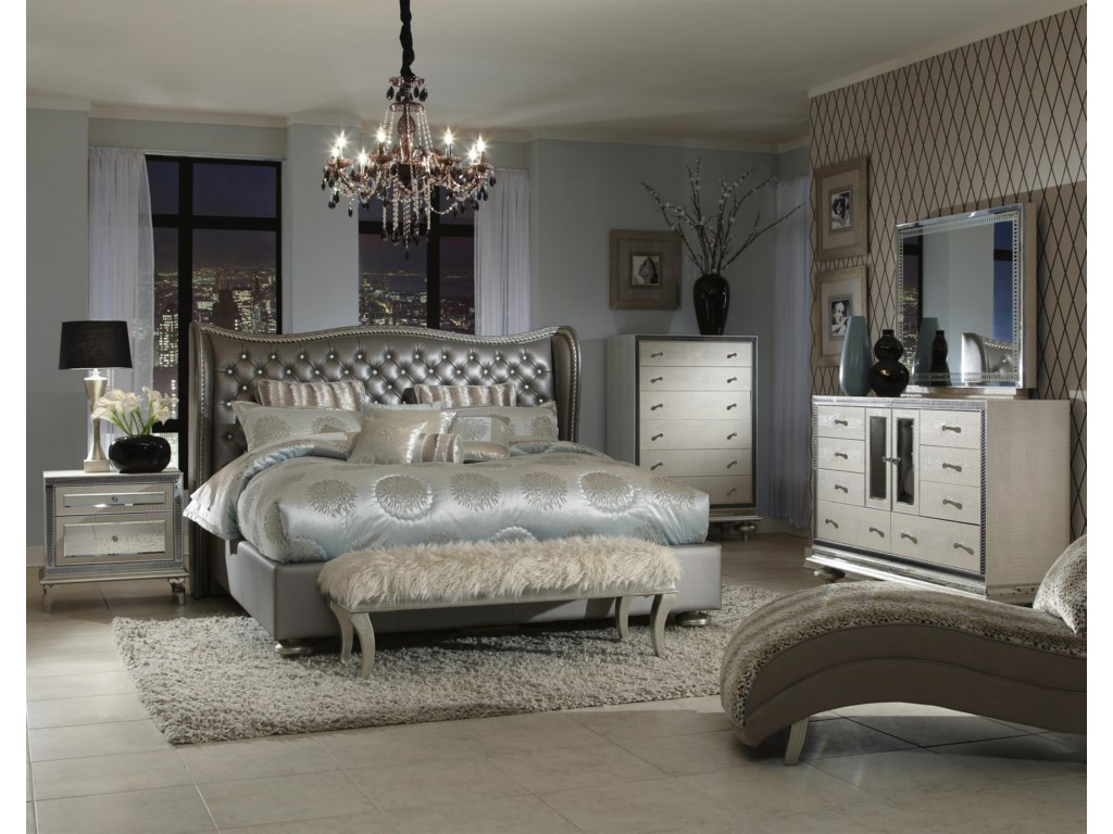 Shown in Room Setting with Nightstand, Chest, Dresser and Rectangle Mirror