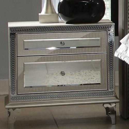 Michael Amini Hollywood Swank Upholstered Nightstand w/ 2 Drawers