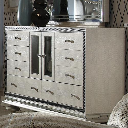 Michael Amini Hollywood Swank Upholstered Dresser w/ 8 Drawers