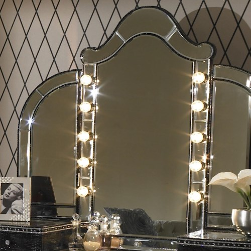 Michael Amini Hollywood Swank Vanity Mirror w/ Light Bulbs