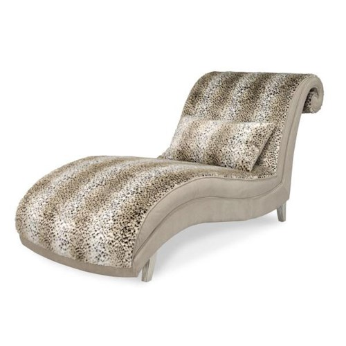Michael amini hollywood swank armless animal print chaise for Animal print chaise lounge