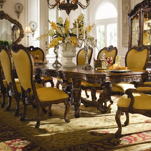 Michael Amini Palais Royale Rectangular Dining Table with Ornate Hand-Carved Accents