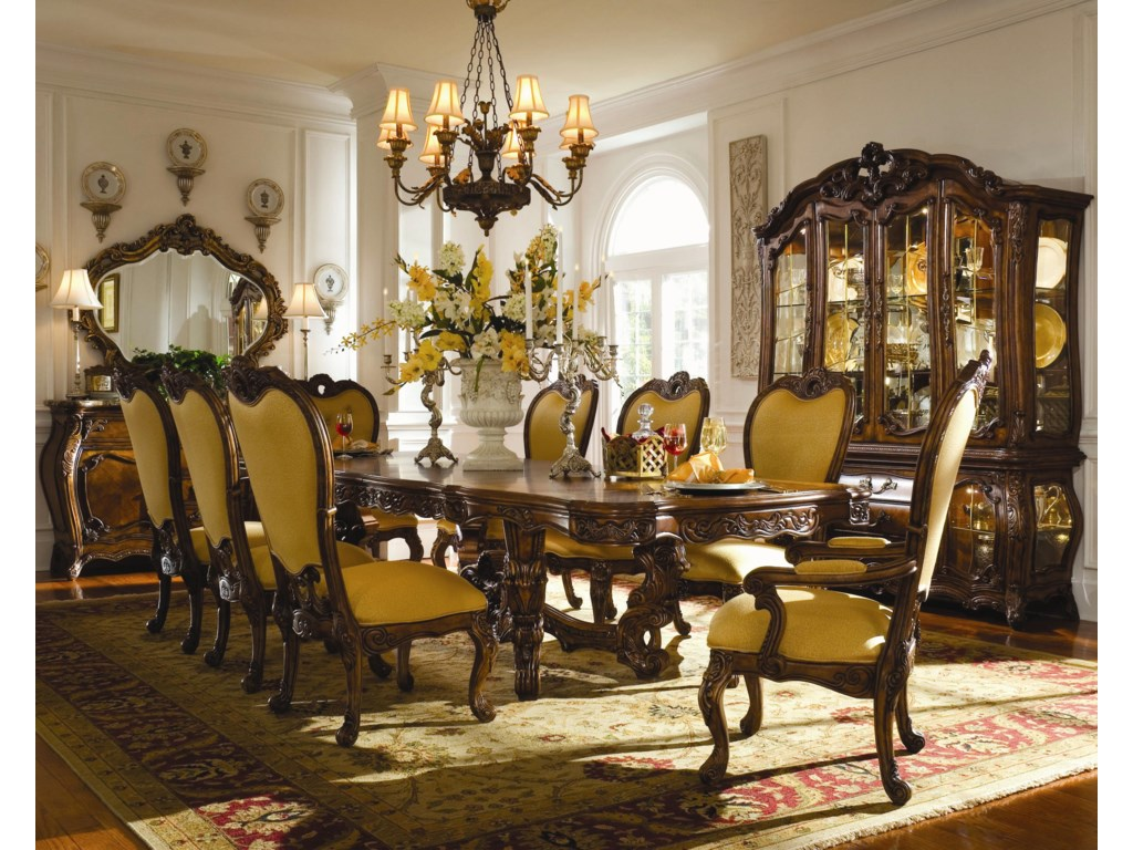 Shown with Arm Chairs, Side Chairs, China Cabinet, Sideboard, and Sideboard Mirror