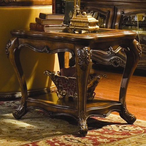 Michael Amini Palais Royale Rectangular End Table with Hand-Carved Details