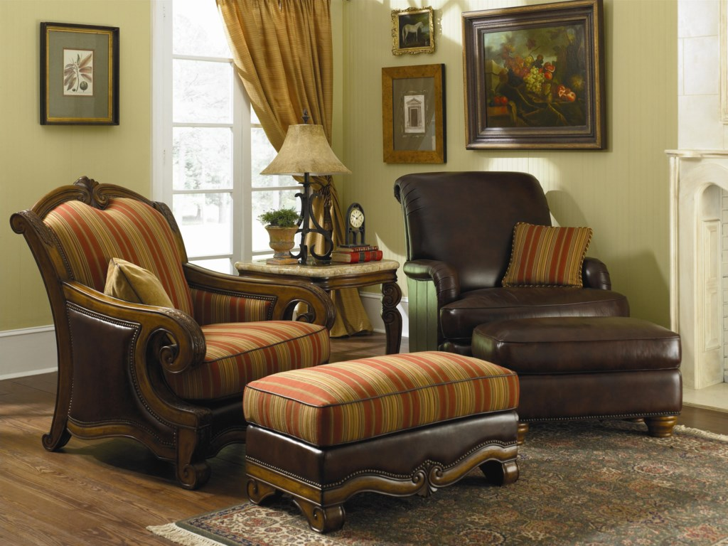Shown with Club Chair (right), Wood Trim Chair, and Wood Trim Ottoman