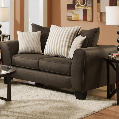 Albany 356 Collection Contemporary Love Seat with Track Arms