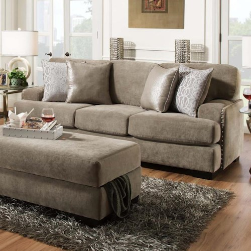 Albany 737  Casual Three Cushion Sofa with Nailhead Trim
