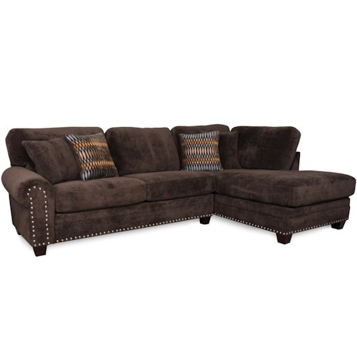 Albany 8648 Collection Casual Sectional with Tapered Block Feet