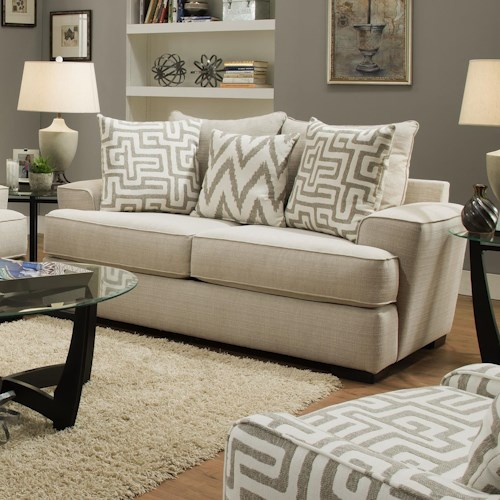 Albany 8686 Transitional Loveseat with Wide Arms