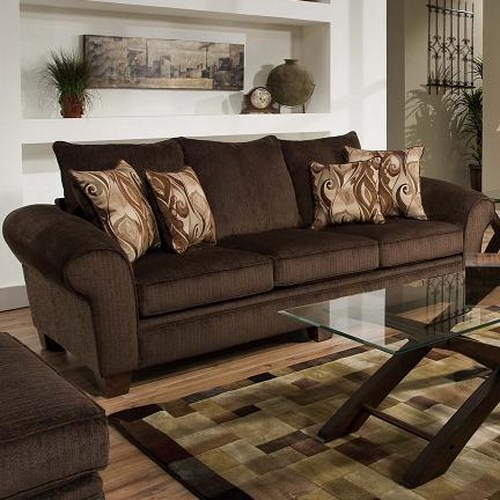 Albany 910 Transitional Rolled Arm Sofa with Exposed Wood Legs