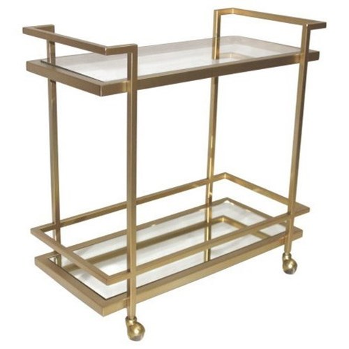 Belfort Leather Brentwood Bar Cart with 2 Shelves