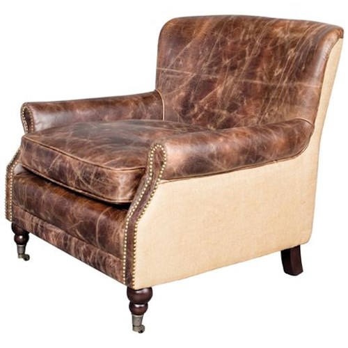 Belfort Leather Downton Two-Toned Upholstered Chair with Casters and Nail Head Trim