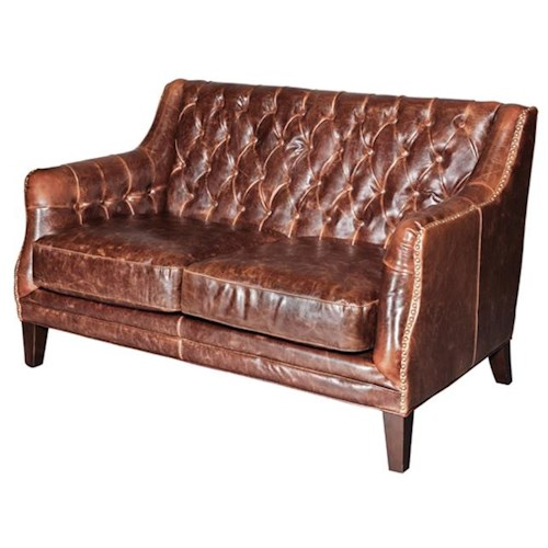 Belfort Leather London Antique-Like Leather Settee with Tufted Back
