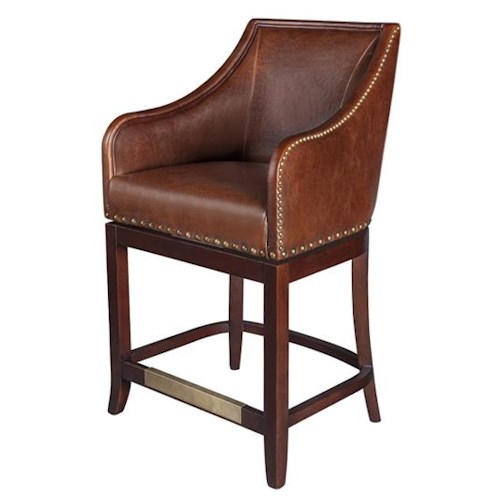 Belfort Leather Manchester Upholstered Swivel Counter Height Stool