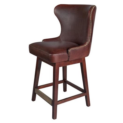 Belfort Leather Rockwell Upholstered Leather Bar Stool with Swivel Seat