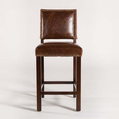 Belfort Leather Weston Bar Stool with Antique-Like Leather Back and Seat