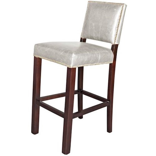 Belfort Leather Weston Weston Bar Stool - London Fog Leather