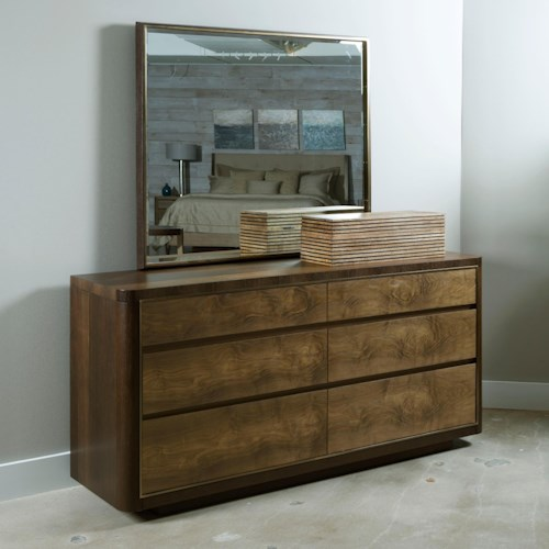 American Drew Ad Modern Organics Howard Six Drawer Dresser and Mirror with Frame