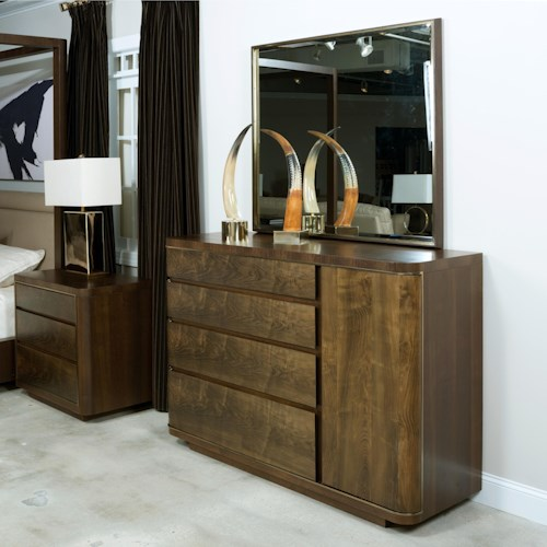 American Drew Ad Modern Organics Spencer Dresser and Holt Mirror with Frame