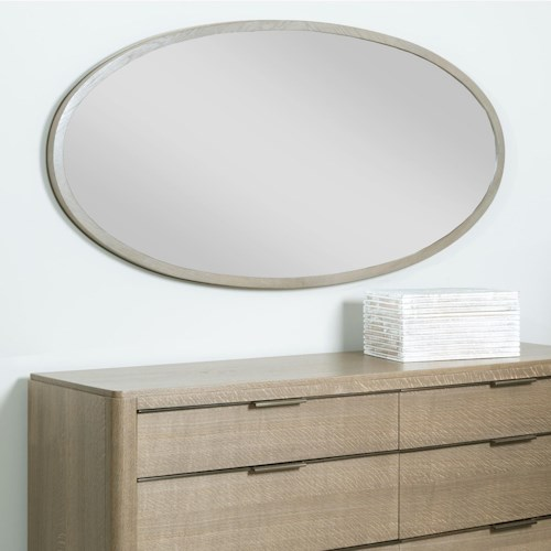 American Drew Ad Modern Classics Ramsey Oval Mirror with Wood Frame