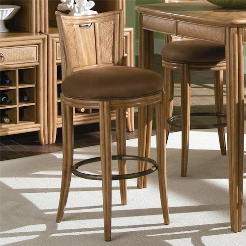 American Drew Antigua Round Bar Swivel Stool with Seat Back