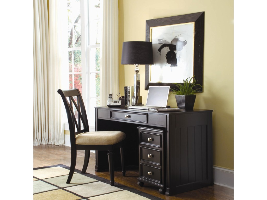 Desk Shown with File Cabinet and Chair