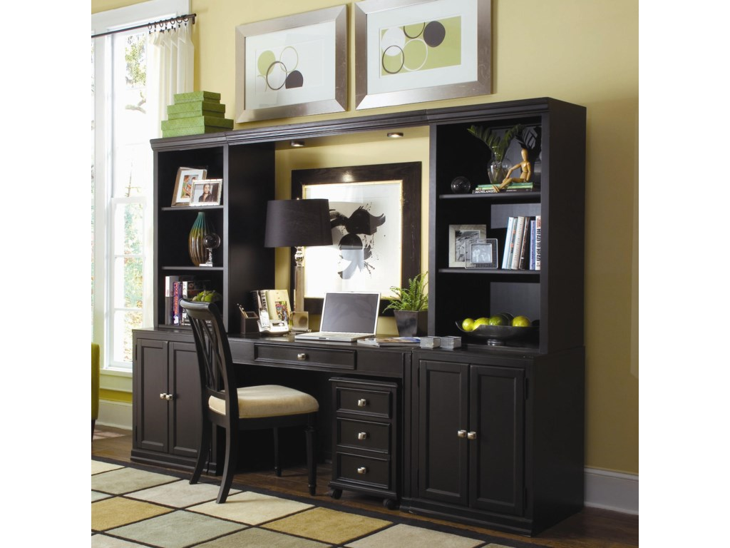 Desk Shown with Home Office Wall Unit and File Cabinet