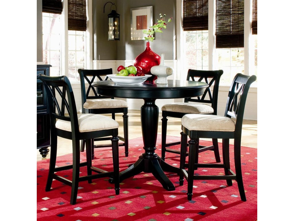 Shown in Room Setting with Upholstered Counter Height Stools