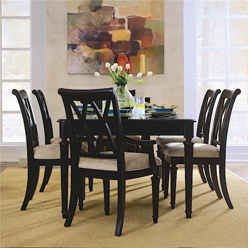 American Drew Camden - Dark Rectangular Dining Set with Splat Back Chairs