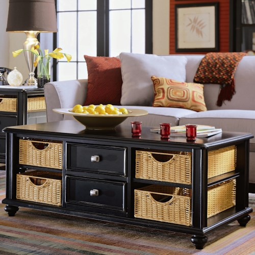 American Drew Camden - Dark Cocktail Table with 4 Baskets