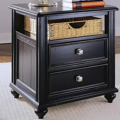 American Drew Camden - Dark Side Table with Woven Basket