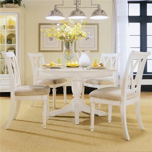 American Drew Camden - Light Round Dining Table with Splat Back Chairs
