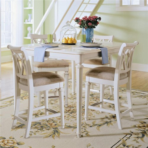 American Drew Camden - Light Traditional Rectangular Table with Bar Stools