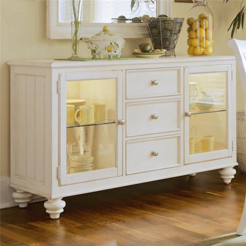 American Drew Camden - Light China Buffet/Credenza with 2 Glass Doors
