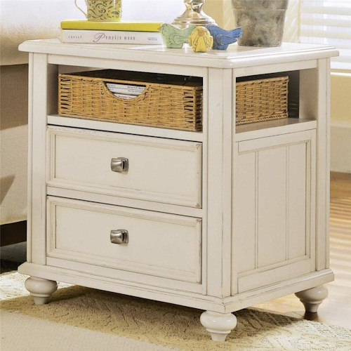 American Drew Camden - Light Side Table with Woven Basket