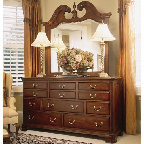 American Drew Cherry Grove 45th Triple Dresser with Landscape Mirror