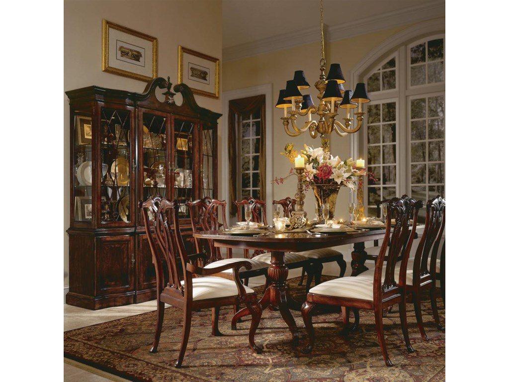 Shown with Pierced Back Arm and Side Chairs and Breakfront China Cabinet