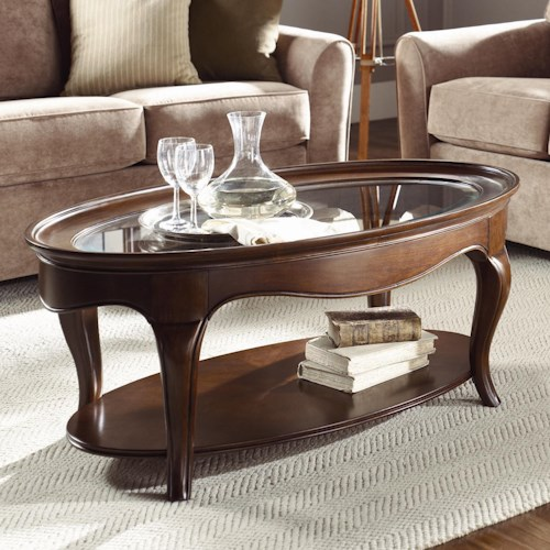 American Drew Cherry Grove Oval Cocktail Table with Glass Top