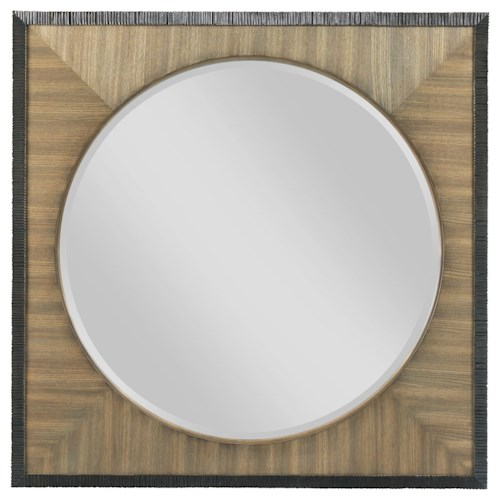 American Drew EVOKE  Round Mirror with Square Frame