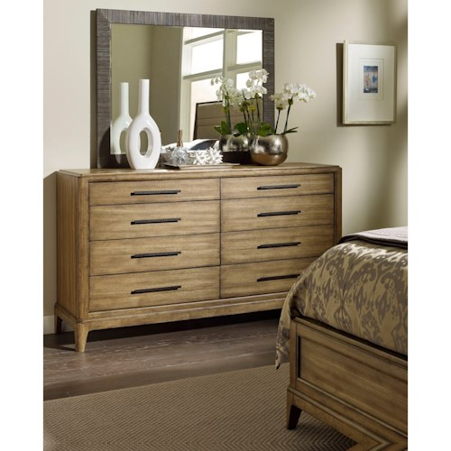 American Drew EVOKE  Dresser with 8 Soft- Close Drawers and Landscape Mirror
