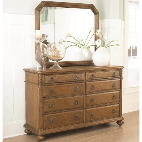 American Drew Grand Isle 8-Drawer Dresser & Landscape Mirror with Island-Inspired Design