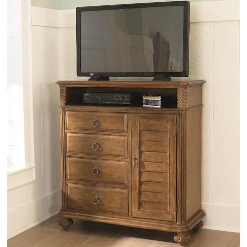 American Drew Grand Isle 4-Drawer 1-Door Media Cabinet with Open Cubbyhole Compartment & Wire Management