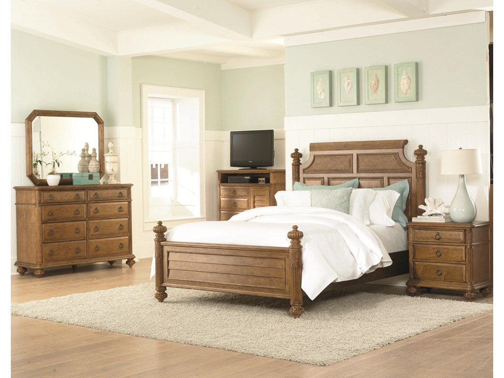 Shown with Island Bed, Media Cabinet, Dresser, and Landscape Mirror
