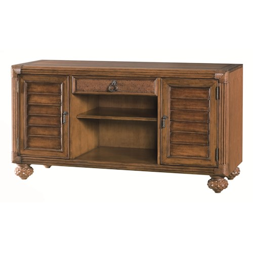 American Drew Grand Isle Entertainment Console with 2 Doors and 1 Drawer and 1 Shelf