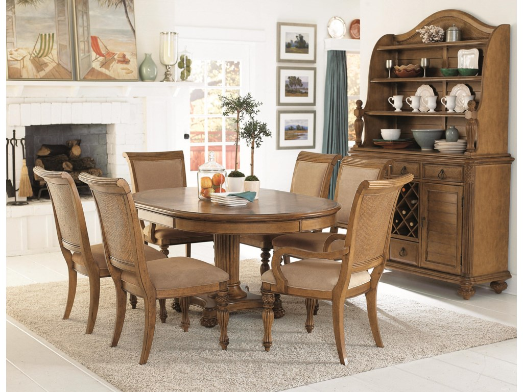 Shown with Arm Chairs, Round Dining Table, and Buffet with Hutch