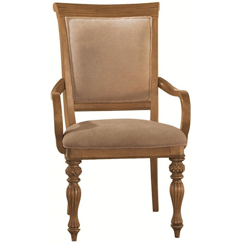 American Drew Grand Isle Island-Inspired Woven Back Dining Arm Chair with Two Front Carved/Turned Legs & Upholstered Seat