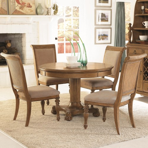 American Drew Grand Isle 5-Piece Round Pedestal Dining Table & Side Chairs with Upholstered Seats & Backs Set