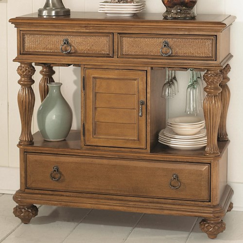 American Drew Grand Isle 3-Drawer Dining Sideboard with Wine Glass Storage & Center Door Compartment